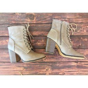 Shoes - Gray zipper heel boots